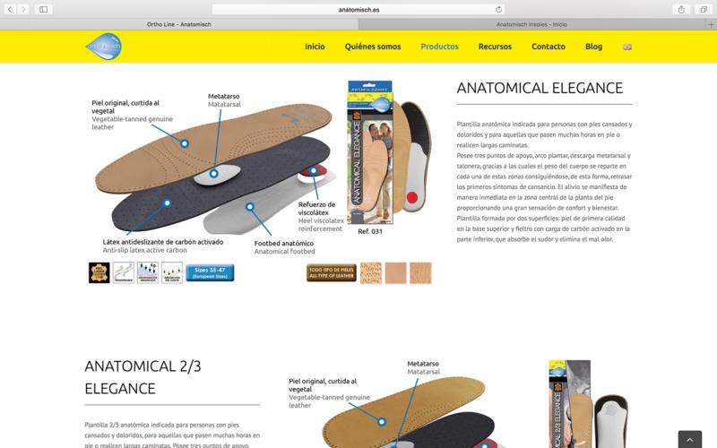 Captura de pantalla de la nueva web de Anatomisch